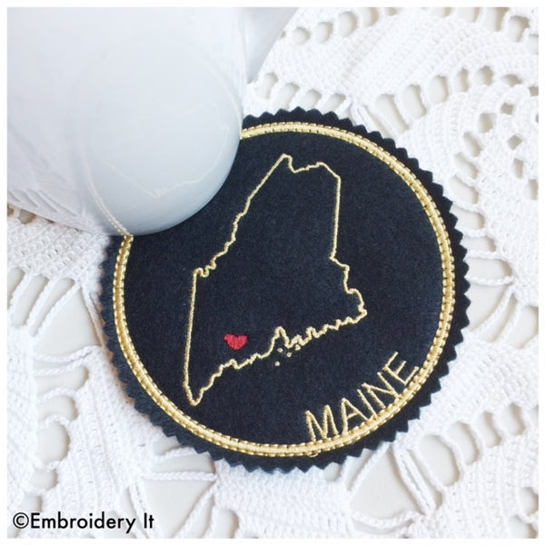 Machine embroidery Maine coaster