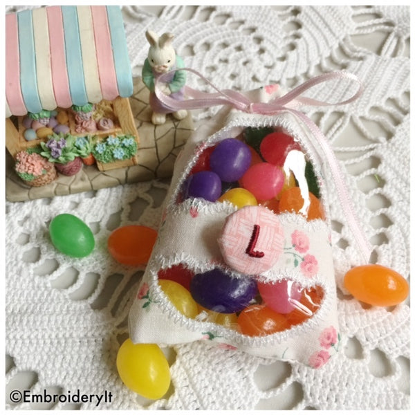 machine embroidery in the hoop Easter treat bags