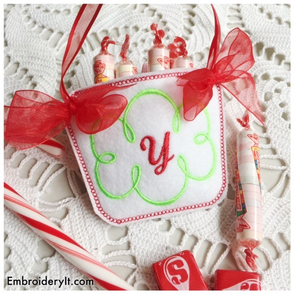 In the hoop machine embroidery candy holder basket design