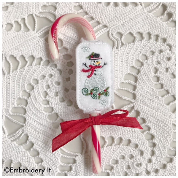 candy cane holder, snowman machine embroidery design