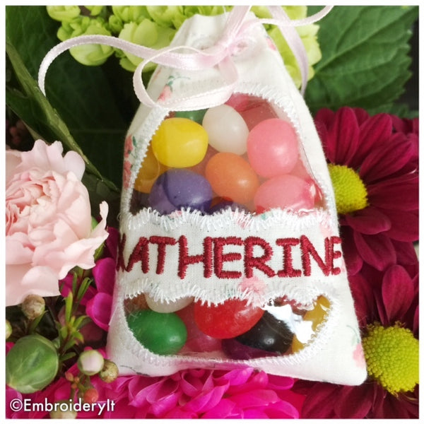 Easter treat bag for personalizing in the hoop machine embroidery design