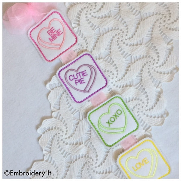 in the hoop machine embroidery candy hearts pattern
