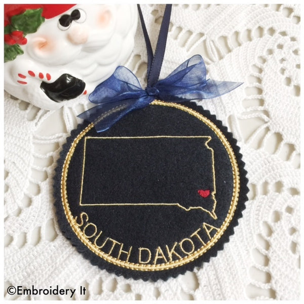 South Dakota in the hoop machine embroidery Christmas ornament