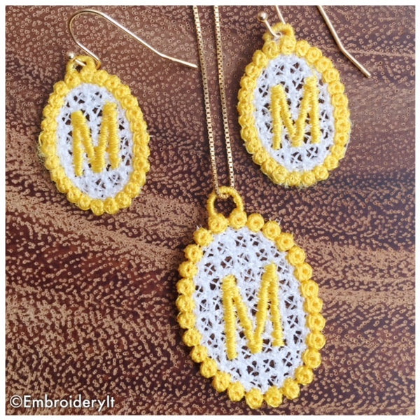 free standing lace monogram necklace and earrings
