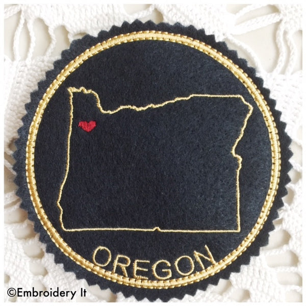 Machine embroidery in the hoop Oregon coaster pattern