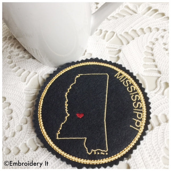 Machine embroidery Mississippi coaster