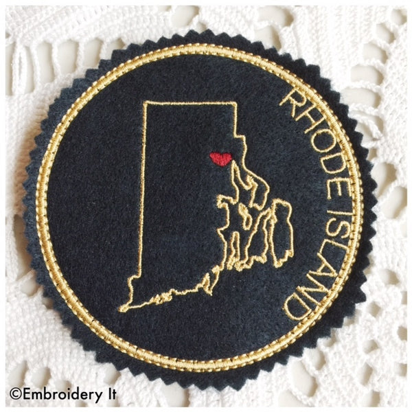 in the hoop Rhode Island machine embroidery coaster design