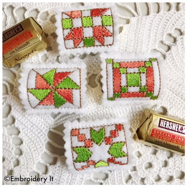 Machine embroidery quilt block nugget candy holder design