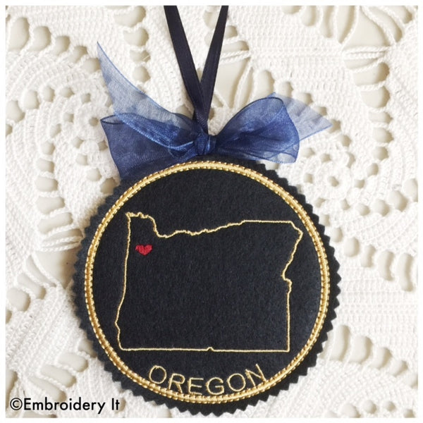 Oregon Christmas Ornament in the hoop machine embroidery design