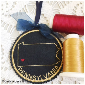 Machine embroidery Pennsylvania Christmas ornament design made in the hoop