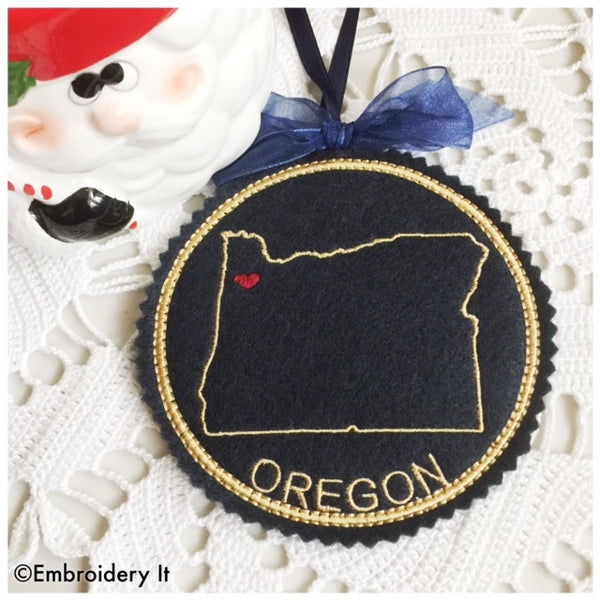 machine embroidery Oregon in the hoop Christmas ornament design