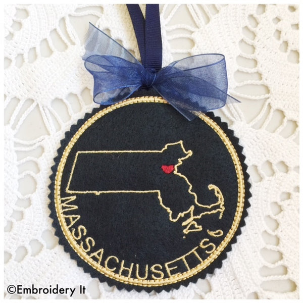 machine embroidery Massachusetts ornament