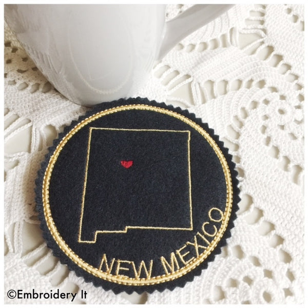 Machine embroidery New Mexico coaster