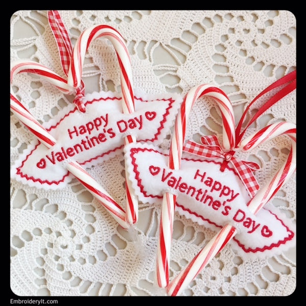 Valentine's day candy cane holder machine embroidery design
