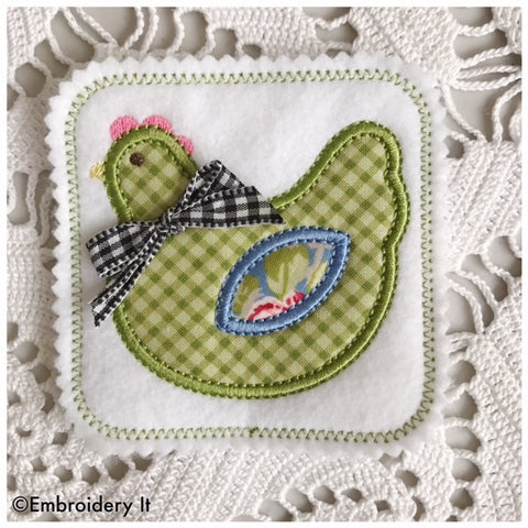 Chicken applique in the hoop machine embroidery design