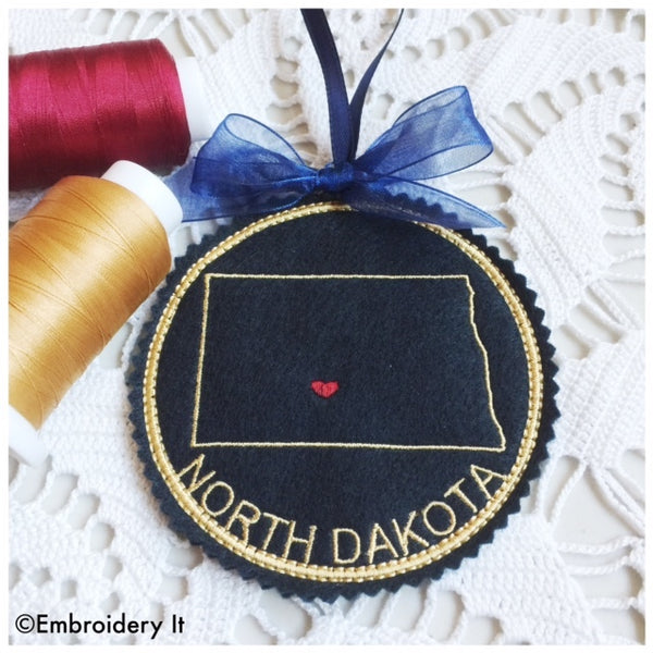 Machine embroidery in the hoop North Dakota ornament pattern