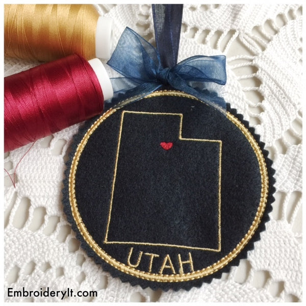 Utah in the hoop machine embroidery design