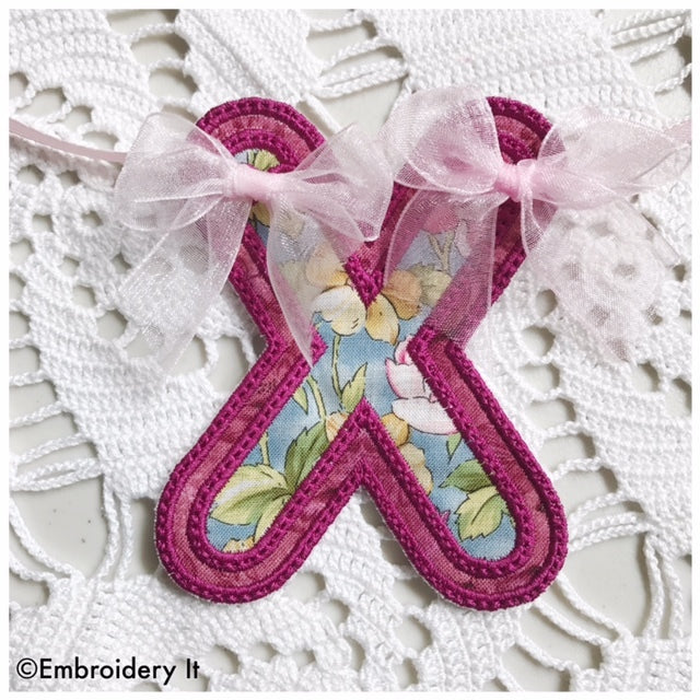Machine embroidery banner letters
