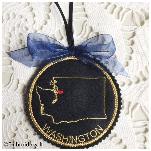 machine embroidery Washington state in the hoop Christmas ornament design