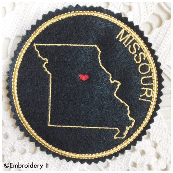 Machine embroidery Missouri coaster