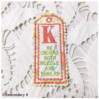 Machine Embroidery Alphabet Bookmark
