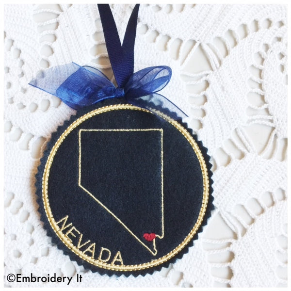 In the hoop Nevada Christmas ornament