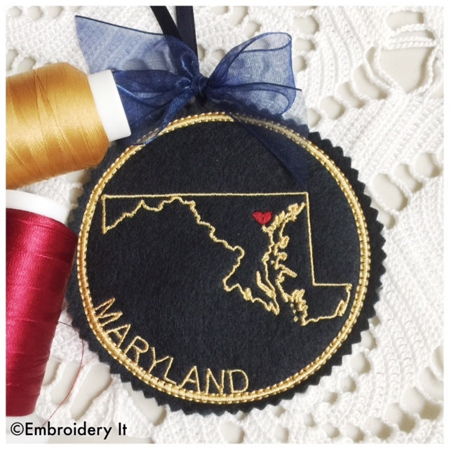I heart Maryland embroidery design