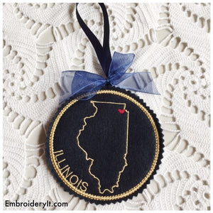 Machine embroidery Illinois Christmas ornament