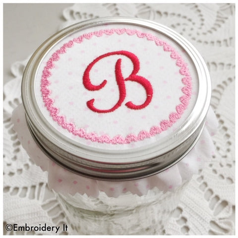 machine embroidery to fit a canning jar lid