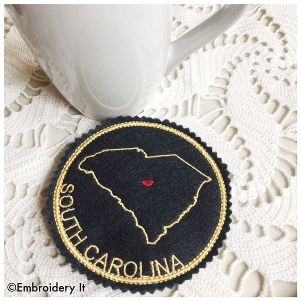 in the hoop South Carolina machine embroidery coaster design