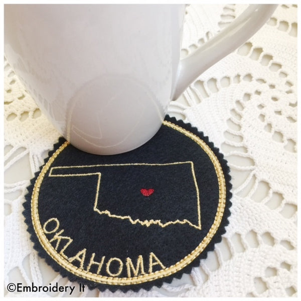 Oklahoma machine embroidery coaster