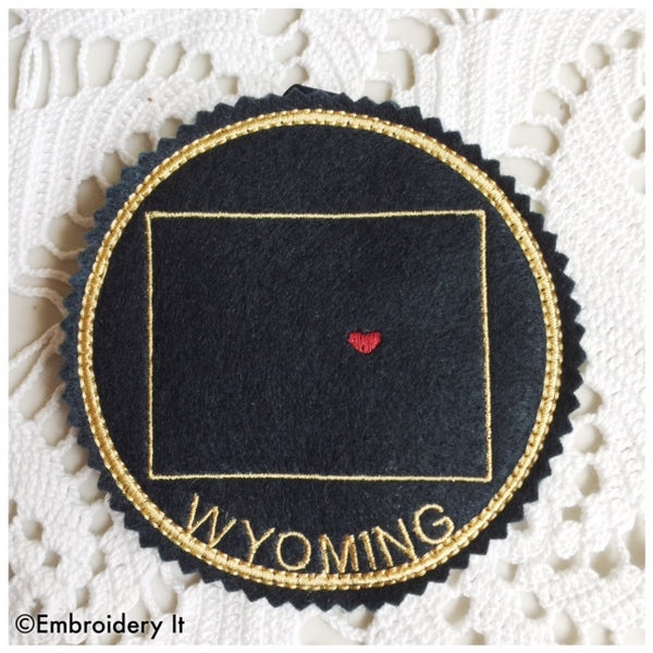 Machine embroidery Wyoming in the hoop Coaster pattern