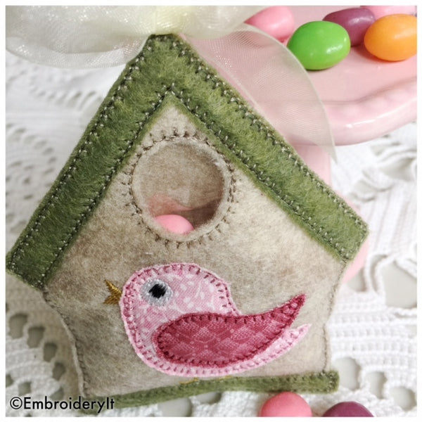 birdhouse candy holder machine embroidery design