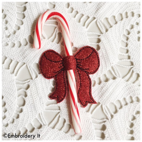 Candy cane bow machine embroidery design