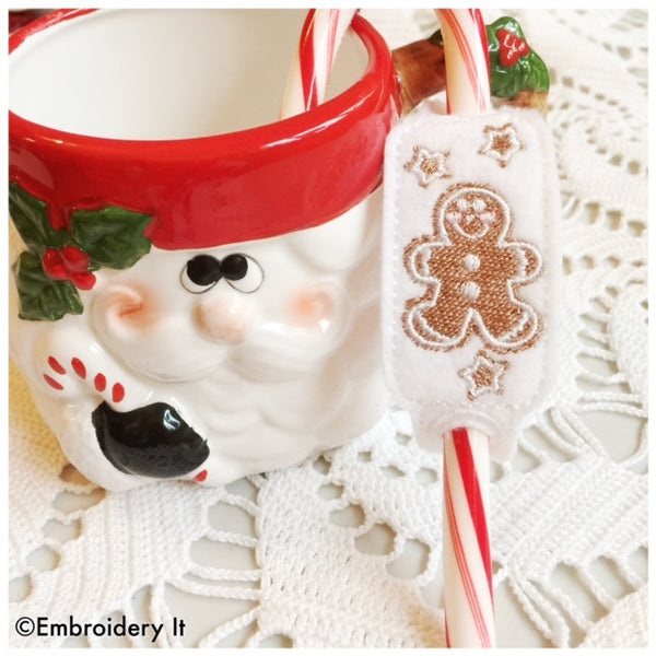 machine embroidery in the hoop gingerbread candy cane sliders
