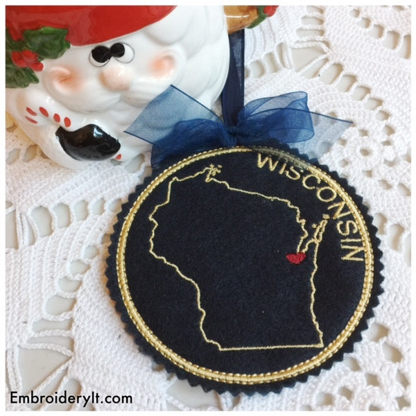 Wisconsin machine embroidery in the hoop Christmas ornament design