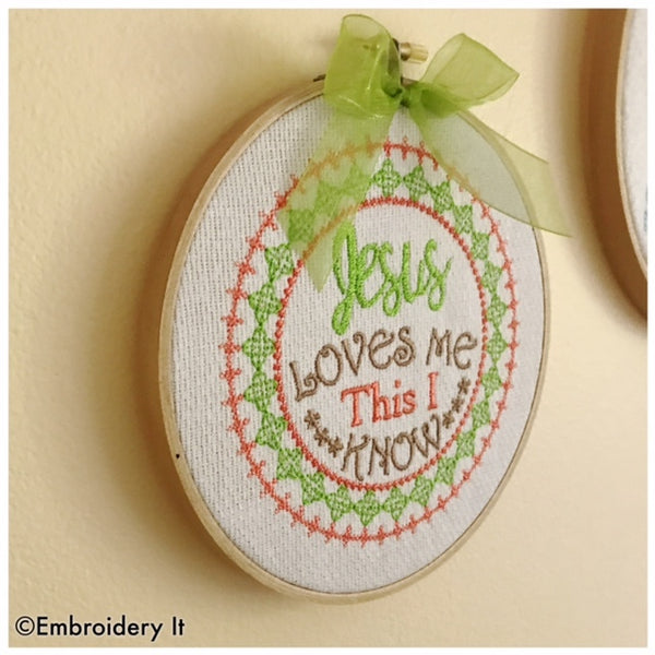 Machine embroidery Jesus loves me pattern