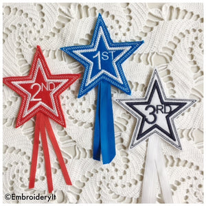 machine embroidery star alphabet and award set