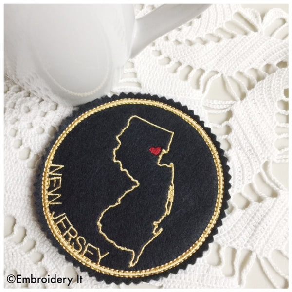 Machine embroidery In the hoop New Jersey Christmas ornament