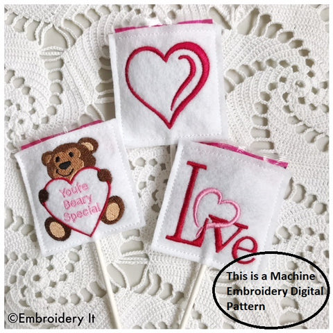 Valentine's day lollipop covers machine embroidery designs