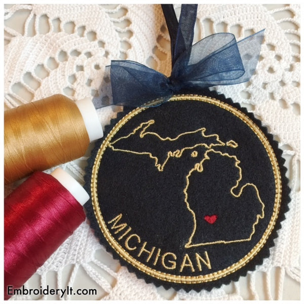 In the hoop Michigan ornament