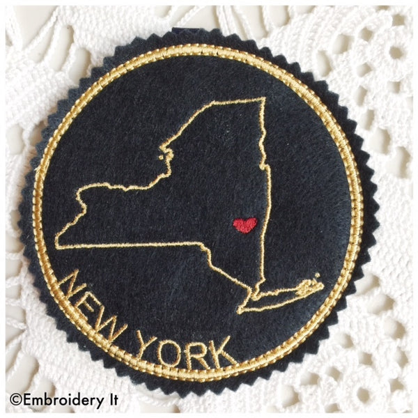 Machine Embroidery New York in the hoop coaster design