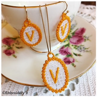 Machine Embroidery Monogram FSL Jewelry