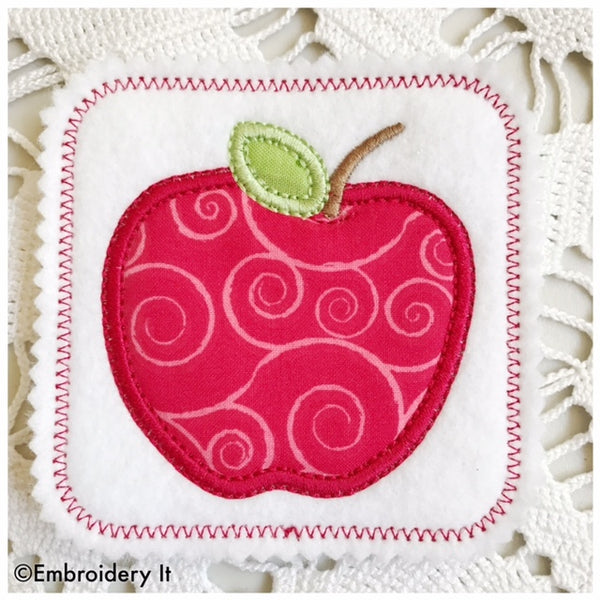 in the hoop apple applique machine embroidery coaster design