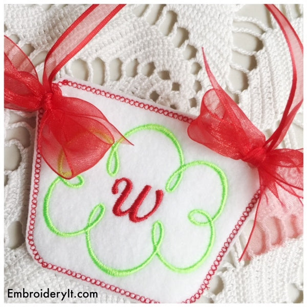 in the hoop monogram basket machine embroidery design