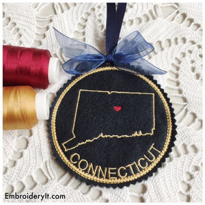 Machine embroidery Connecticut coaster