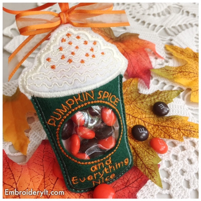 Machine embroidery latte candy holder design