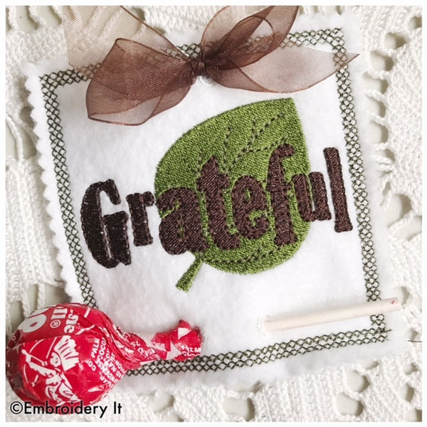machine embroidery grateful in the hoop lollipop holder