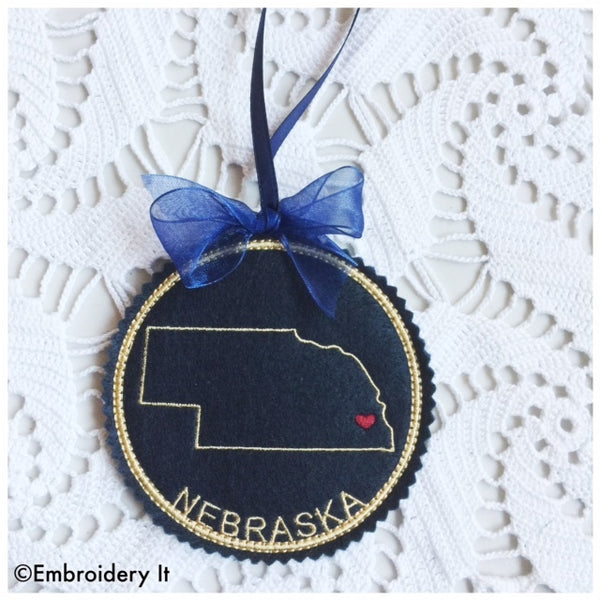 Machine embroidery Nebraska ornament
