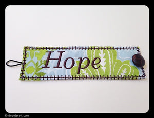 z  Hope Inspirational Cuff - INSTANT DOWNLOAD Machine Embroidery Design in PES format
